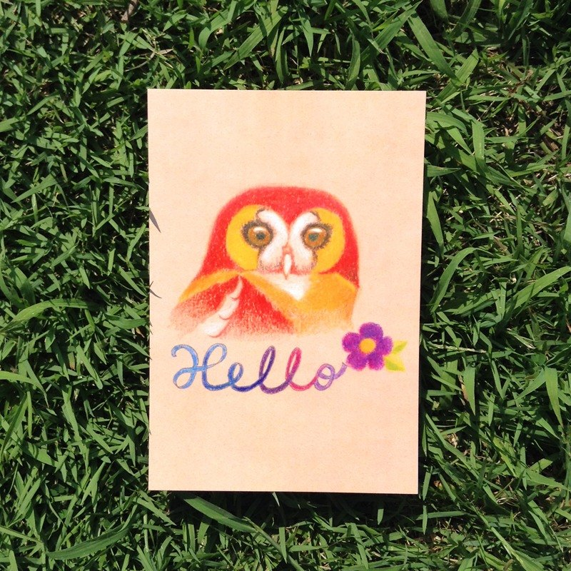 Step flow according to the owl illustration postcard -Hello