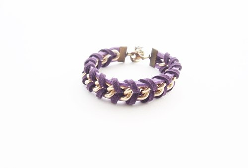 Suede cord bracelet - purple bracelet - arm party - chain bracelet - faux leather cord bracelet - cord bracelet