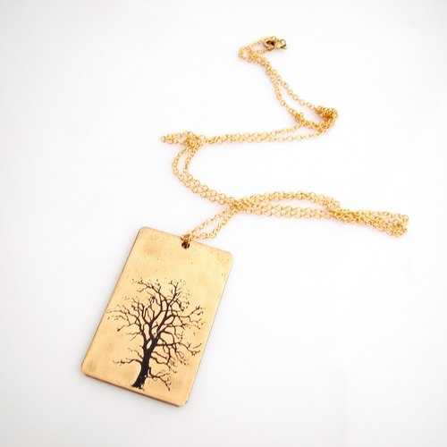 Tree Tag pendant in brass with and enamel  color ,Rocker jewelry ,Skull jewelry,Biker jewelry