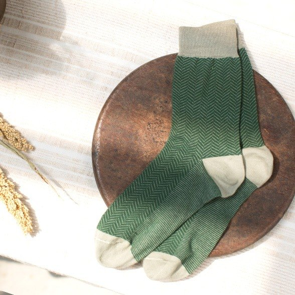 Lin Guoliang character pattern gentleman socks forest green