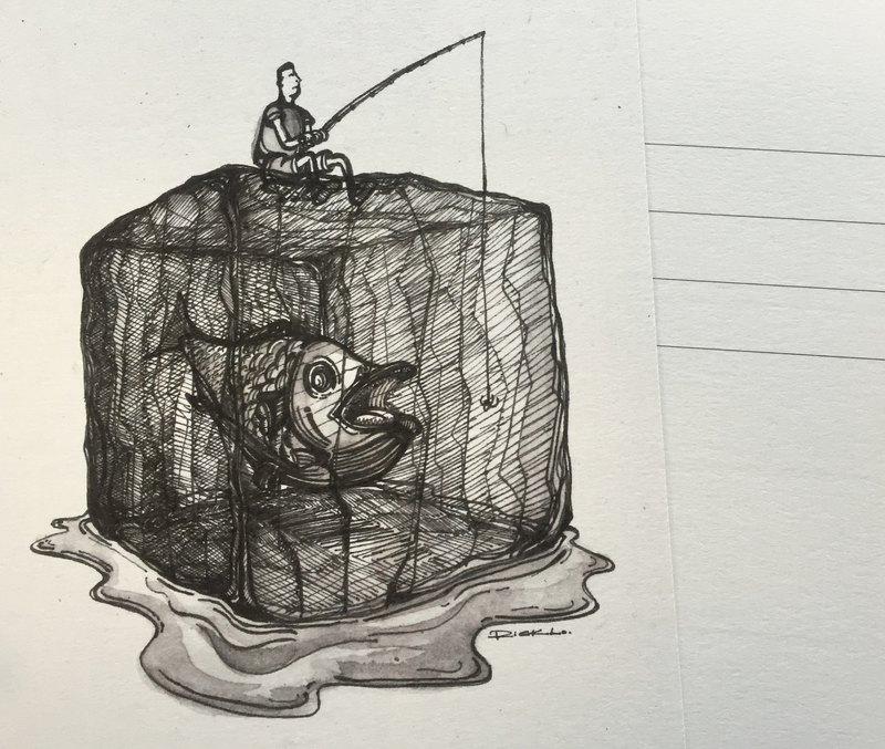 冰上的釣魚翁 - 明信片及高品質畫作印刷