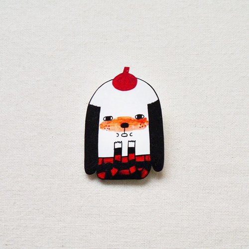Nino The Painter - Handmade Shrink Plastic Brooch or Magnet - Wearable Art - Made to Order