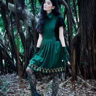 Envol Avec Ning pointed collar dress green