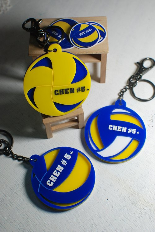 Volleyball keychain custom / cyclone section / engraved name [school name] + back number / Day / graduation gift