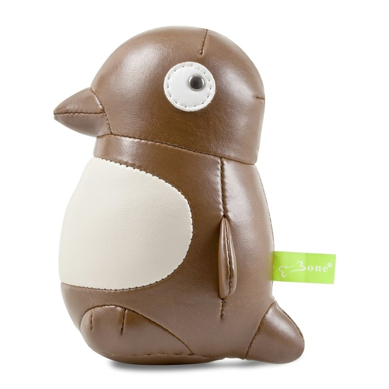 Maru Penguin Penguin Pellet Leather Paperweight - Dark coffee