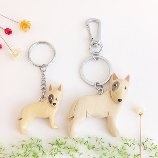 [Handmade wooden x dog series] * White Bull Terrier key ring / strap