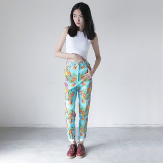 A ROOM MODEL - VINTAGE, DP-0235 VERSACE light blue flag bottom pants retro flower pattern with Shimokitazawa