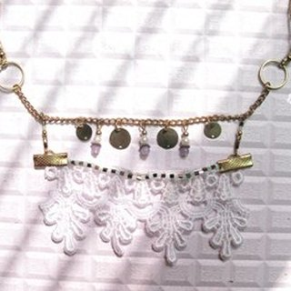 [Isabella] n001 hand made - classic style white lace scalable necklace (sold)