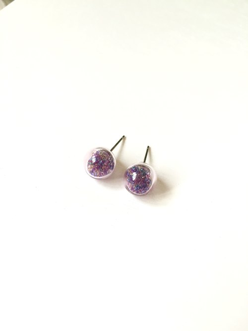 *Haku‧Neko*Mixed Purple Gel pale pink glass beads ball earrings