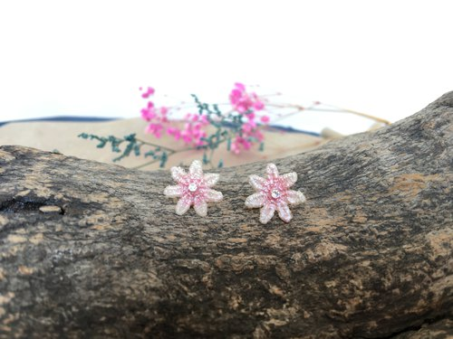 Single petal jasmine clip earrings - pink sweetheart
