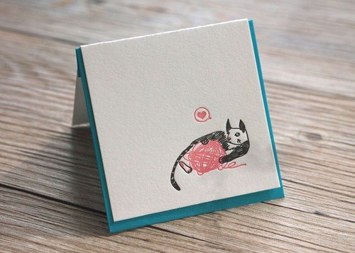 Cat Yarn Ball - Letterpress Mini Card