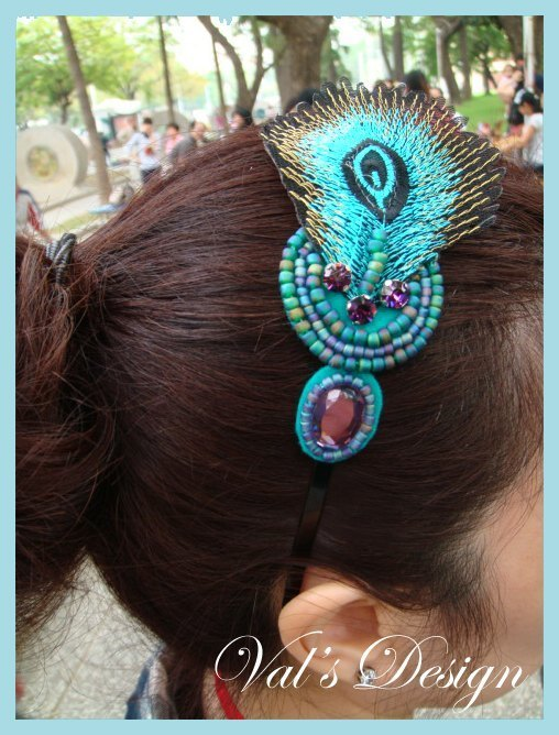 Val‧F hair band headband turquoise peacock feather national air original design