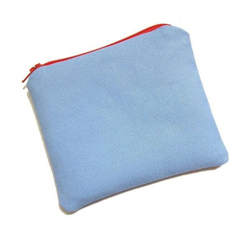Zipper bag / purse / mobile phone sets color canvas (sky blue)