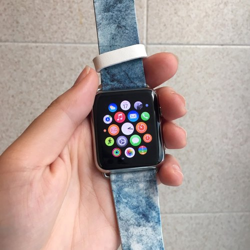 Apple Watch Series 1  , Series 2, Series 3 - Apple Watch 真皮手錶帶,適用於Apple Watch 及 Apple Watch Sport - Freshion 香港原創設計師品牌 - 水彩藍 16