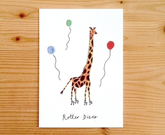 "Global illustrator Series - Nina Cosford Greeting Card "" ROLLER DISCO """