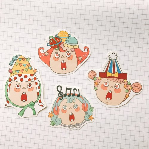 A small group of four into the party stickers