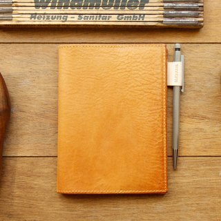 Leather Book Sleeve A6 ( Custom Name ) - Classic Tan