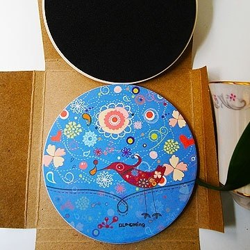 """DNS original design"" Flower Series ~ Blooming Bluebird warm ceramic absorbent coasters"