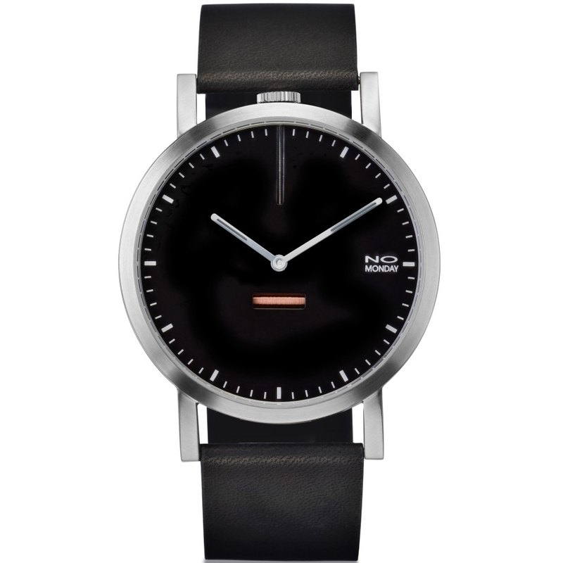 NO Monday 460 series designer watch - black (matte silver) / 43mm