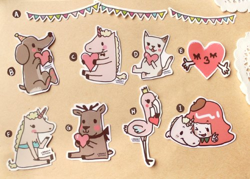Small suitcase friend] [LOVE stickers sold leaflet