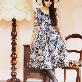 F1149 (Vintage) black with blue flowers vintage sleeveless cotton dress