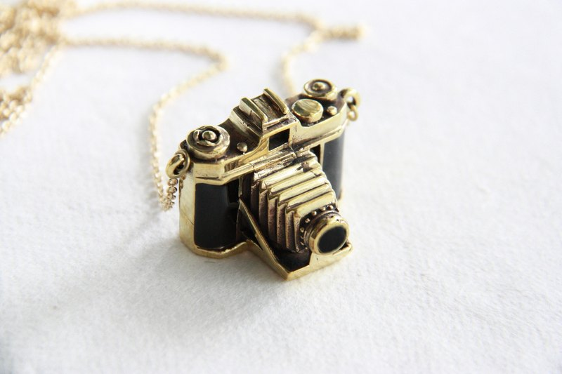 Golden Antique Folding Style Camera Pendant - Vintage Brass Metal/ Enamel Necklace