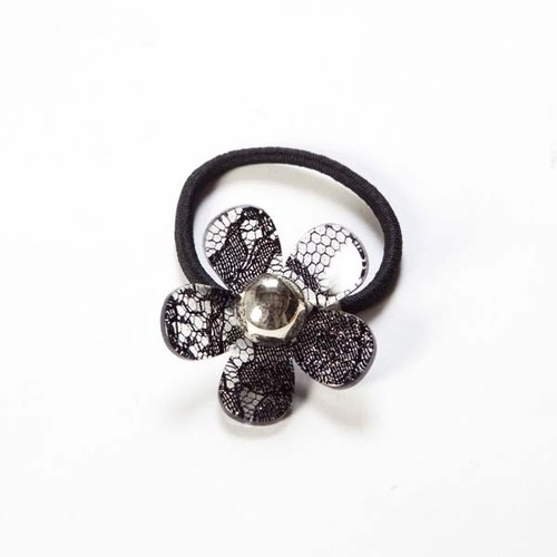 Romantic lace style, Pearl flower, hair bundle, hair accessories - black