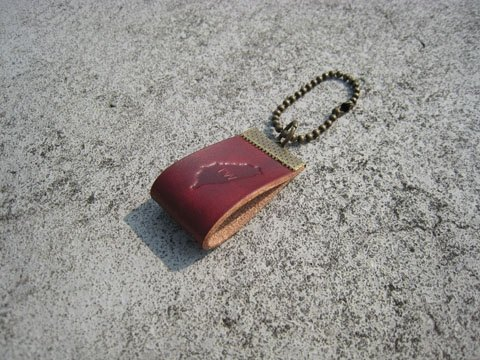 Gift / handmade leather strap _ small bead chain / custom imprinted C00_2