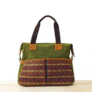 [Happa] whims large capacity tote bag - Hand knotted kilim paragraph (Olive olive green) exchange gifts Required
