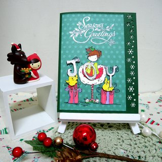 Christmas cards (greeting card) - handmade cards Girl & Chicks