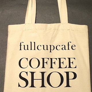 Breathing life. fullcupcafe COFFEE SHOP - beige linen TOTE BAG
