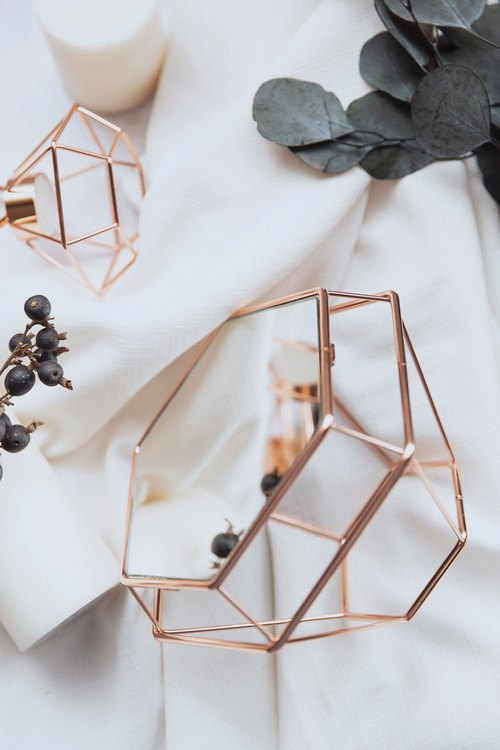 Experimental Project / Zero One / geometric lines - diamond table mirror jewelry sets - Rose Gold