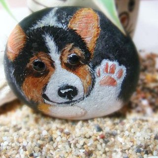 Hello Corgi ** painted stone paperweight decorations