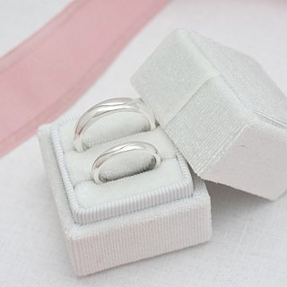 【Customize】Simple happiness curve carve couple rings (silver) - C percent