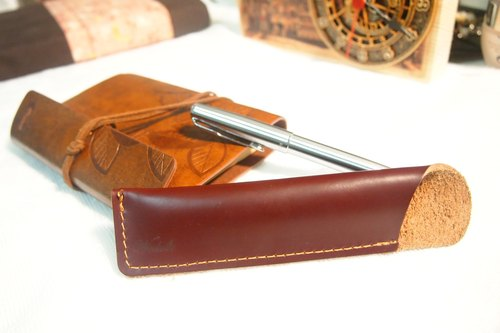 Wosloth High quality handmade leather pen pencil retro leather travel stationery (coffee red)