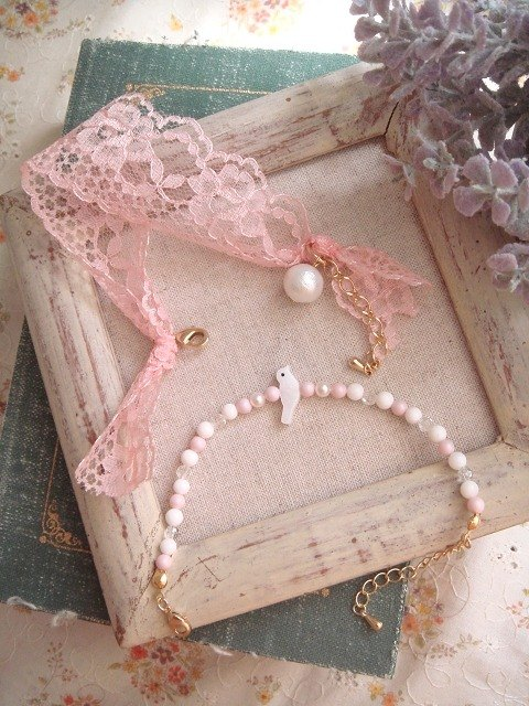 Garohands Eclectic romantic temperament lace + natural stone bracelets feel good sister Kits