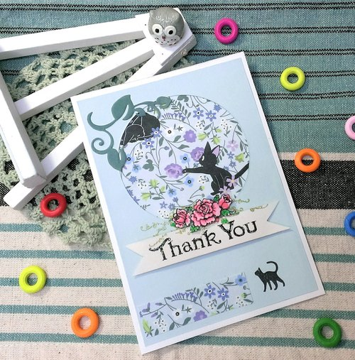 Handmade cards - Summer cat thank you card