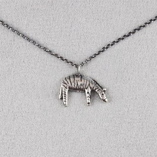Ohappy animal series. Zebra Silver Necklace