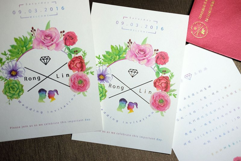 [Custom wedding card / marriage card] watercolor hand-painted design - postcards / card models