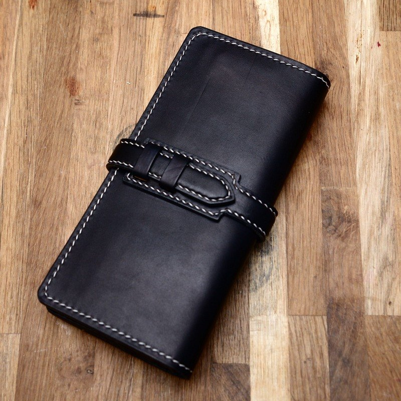 Hand-made hand-black color tank belts vegetable tanned leather Changcai Spurgeon leather wallet long wallet