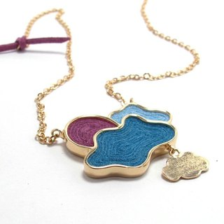 Handmade Sky and Cloud Charm Necklace in Metal