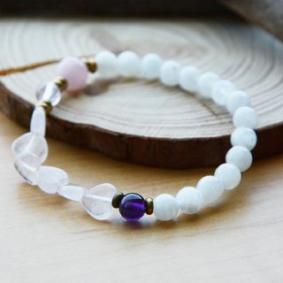iLove: Natural Moonstone amethyst crystal heart-shaped pink crystal elastic bracelet Purple Hibiscus