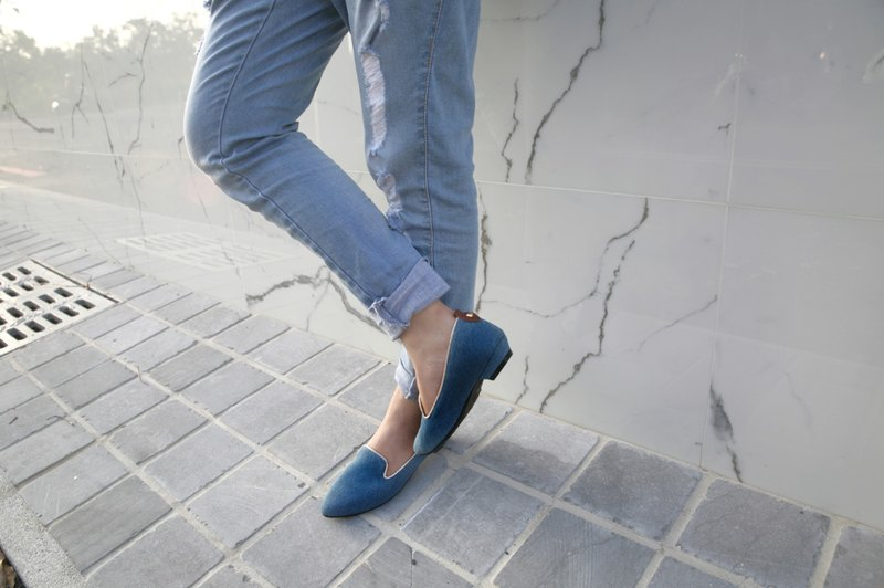 WL tannins low-heeled (whims Blue) Denim Heeled Loafers