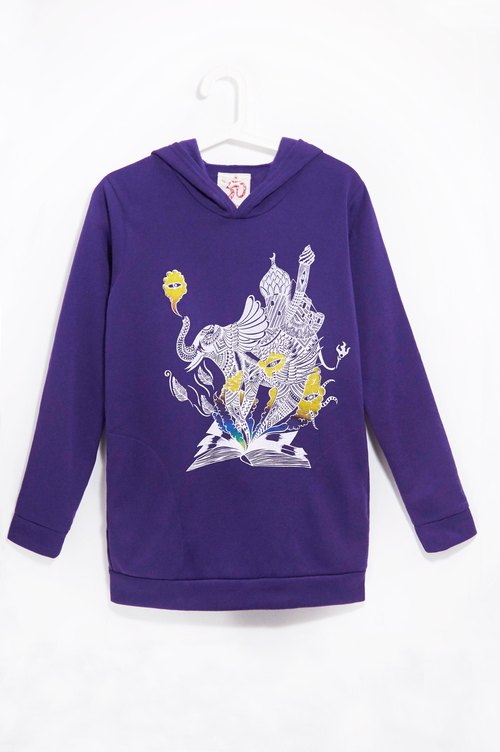 Hooded long bristles feel Blouse - Indian elephant (purple)