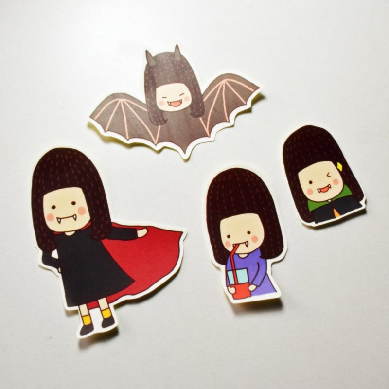 Pig sister vampire sticker / Halloween sticker / Pocket sticker