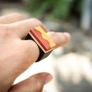 Geometric yellow&pink wood ring