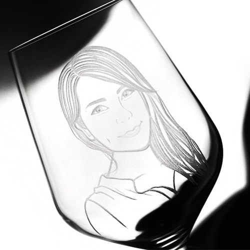 Valentine 550cc [MSA Portrait Crystal Cup '(realist Version) YOU u. Bormioli Rocco Italian Sommelier series Crystal Bogan ground glass (three-dimensional hand-carved carver non-laser machine) Customized