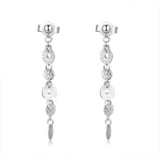 Hong Kong 14K / 585 white gold net gold disc Drop Earrings
