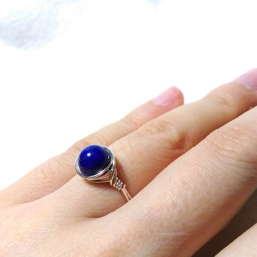 [LeRoseArts] Minimalier series - lapis lazuli sterling silver wire hand-made ring