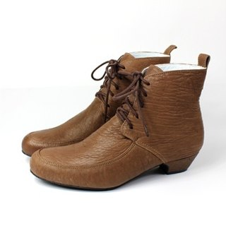 Brown strap low heel ankle boots